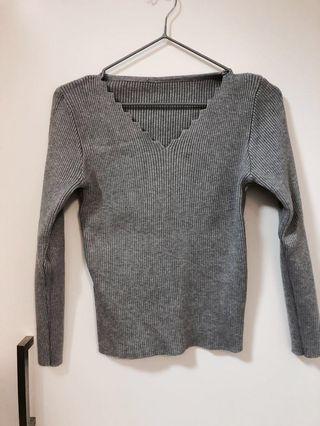 ⚪️灰色V領針織上衣🙆🏻♀️Grey V neck knitted top