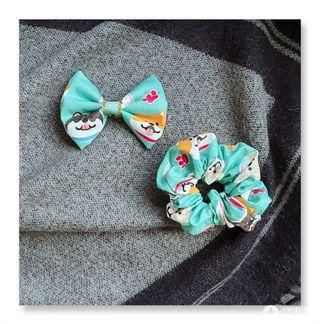 Handmade bow for dog n matching scrunchies