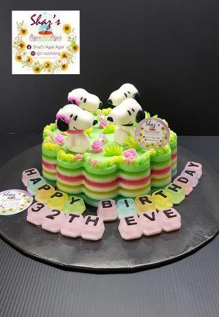 Snoppy Theme Agar Agar Jelly Birthday Cake