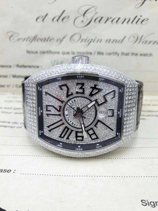 FRANCK MULLER New Vanguard 45mm V45 Steel Diamond Dial Leather Automatic