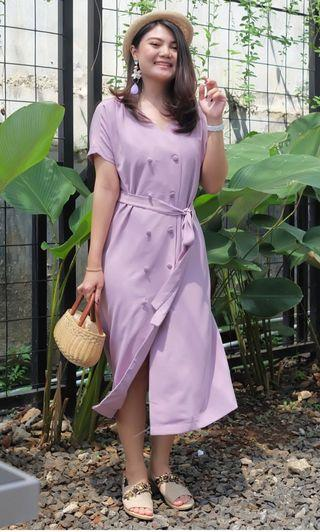button & belt pastel purple Mididress bangkok