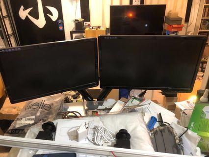 "Double Gas Strut Arm + 2 x USB 3.0 + 2 x BenQ Monitors (19"" & 22"")"
