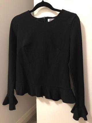 Black Long Sleeve Peplum style top