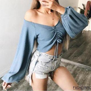 Blue scrunched top