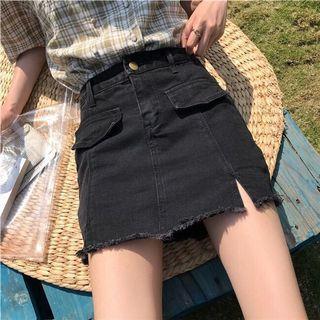 🚚 黑色牛仔短裙 內有褲子
