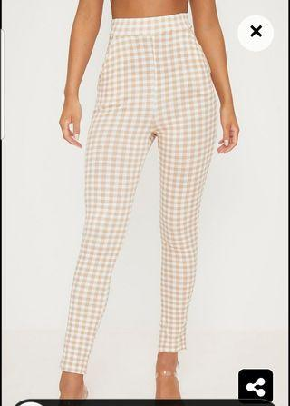 Pretty Little Thing Gingham Beige White High Waist Pants Size 6 New, Tried On Once (Part Of Label Has Been Cut)