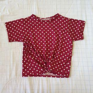 Red and white polka dot crop top
