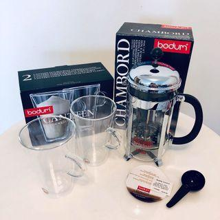 7fc6b65d7f2 Bodum French Press Coffee Cups Set, Chambord 1L Chrome and Canteen Glass  400ml