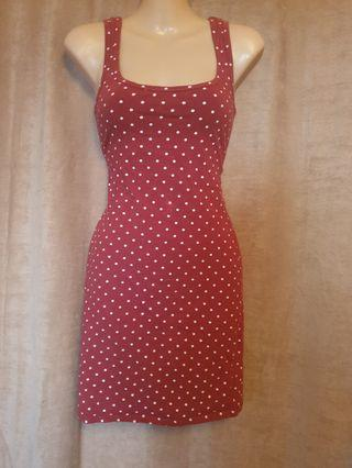 Supre Brown Polka Dot Bodycon Dress Size XS Has Some Fading But Still In Decent Condition