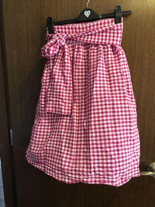 Fuschia Gingham Skirt