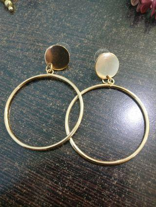 Gold Color Hollow Big Round Earrings