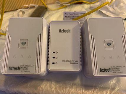 Aztech homeplug 500mps 一拖二