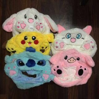 Moving Ears Hat Cute Adorable White Bunny Rabbit Yellow Pikachu Blue Stitch White Sailormoon Cat Pink Pig
