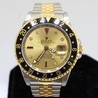 Rolex GMT II 16713 - Rare Champagne Serti Dial