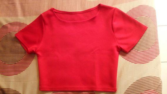 t-shirt crop bahan scuba