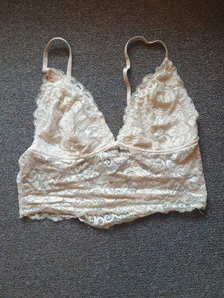 Nude Lace Crop Top Size Small Good Condition