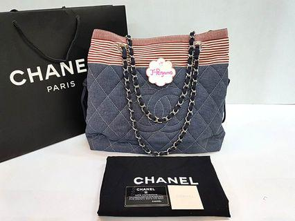 1bc2091db8b3 Authentic Chanel Jersey Quilted Large Shopping Tote Bag SHW {{ Only For  Sale }}