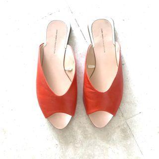 Zara upper leather Moroccan slides