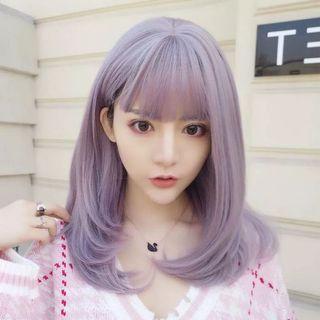 Unicorn Purple MediumLong Straight w Fringe Wig