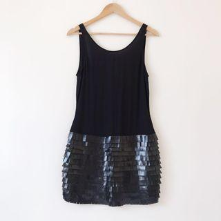 *NEW* Low back PU Leather fringed dress size 8