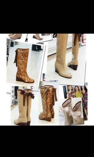 🚚 Brand New Leopard Ribbon Wedge Rain Boots (Made in Japan)