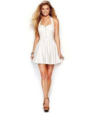 Guess White Halter Dress with Sweet heart neck line