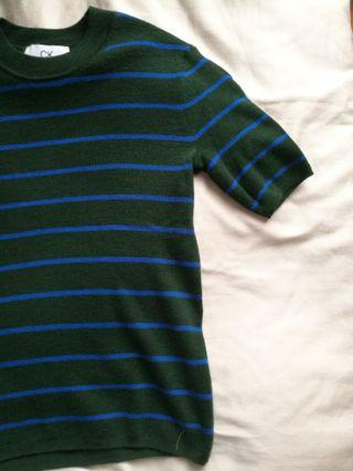 CK knit green blue stripe top