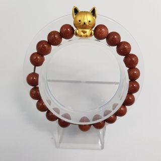 🚚 999 Pure Gold Doggie Charm with Gold Sandstone Beads Bracelet