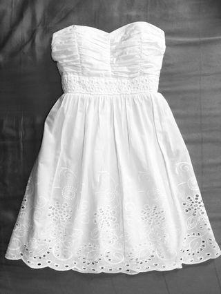 White Strapless Bustier Lace Dress