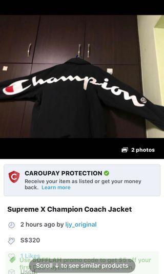 26396b1f1aa Supreme X Champion Coach Jacket