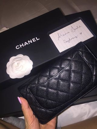 9d72127a2b25cb Authentic Chanel bifold black caviar leather wallet
