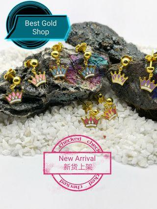 916 gold crown earring