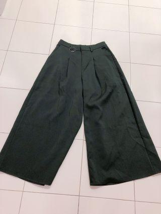 Wide leg green pants