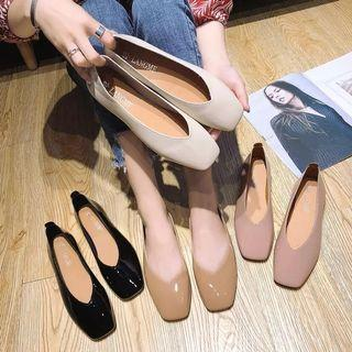 Korean nude basicd shiny flats Shoes