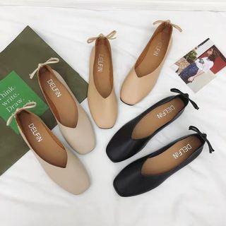 Korean nude basics back bow flats Shoes