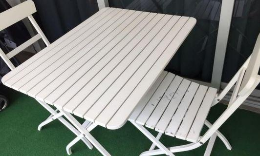 Balcony white table and chairs set