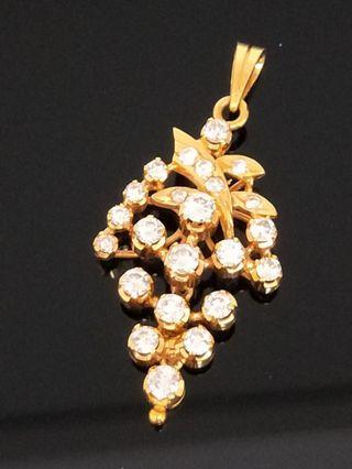 Vintage 18K gold berlian diamond grape 🍇  pendant  Peranakan Straits Chinese Nyonya