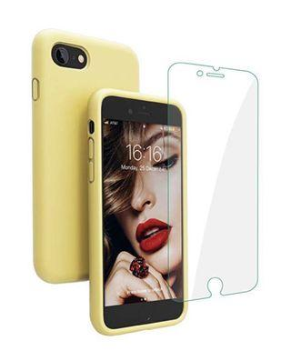 (E1634) Compatible with iPhone 8 Case, iPhone 7 Case, JASBON Liquid Silicone Phone Case with Free Screen Protector Gel Rubber Shockproof Cover Full Protective Case for Apple iPhone 8/7-Yellow