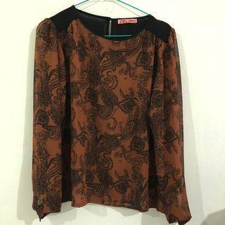 floral blouse warna coklat