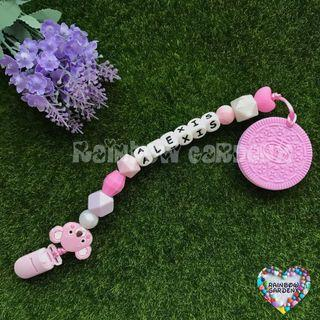 Handmade Pacifier Clip with name (silicone letter beads) + Pink Oreo teether
