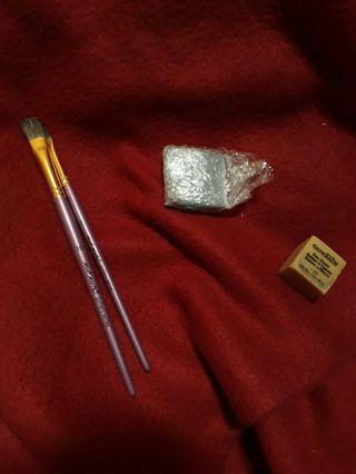 $2 each gum eraser, 2 brushes, kneadable eraser