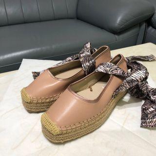 🚚 ZARA編織粉紅綁帶鞋