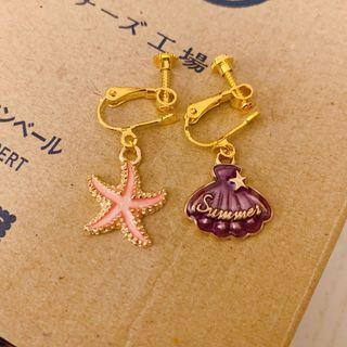 Summer shells earrings earclip 耳夾