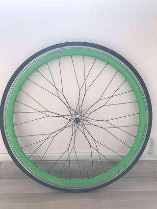 Custom laced front wheel