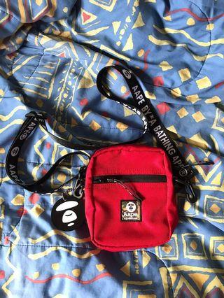 d69a9b462a5 Authentic aape by a bathing ape camo red sling bag
