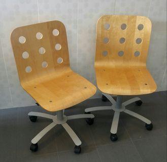 Wooden IKEA Jules Adjustable Office Swivel Roller Chair