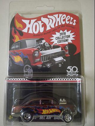 Hot Wheels 2018 KMart Mail In '55 Chevy Bel Air Gasser with card protector