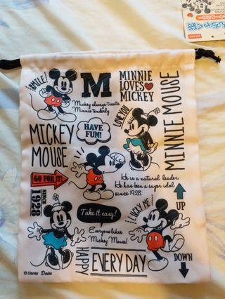 Mickey & Minnie 雙面索繩袋