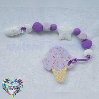Handmade customised Pacifier Clip + Lilac ice cream teether