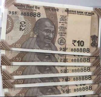 Clearance sales (888888) solid number all 8  new indian 10 Rupees Note Unc